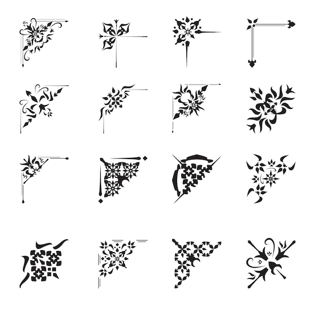 Conjunto de cantos de design decorativo Vetor grátis