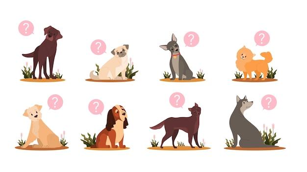 Conjunto de cão bonito com ponto de interrogação. coleção de cão de pão puro de várias raças com emoção de confusão. animal de estimação doméstico engraçado com expressão facial pedindo. Vetor Premium