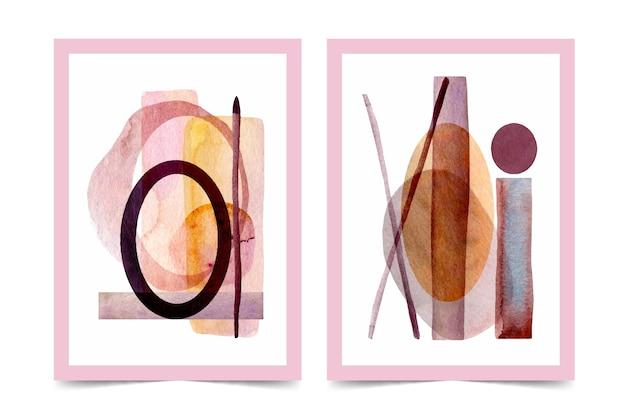 Conjunto de capa de formas abstratas em aquarela Vetor grátis