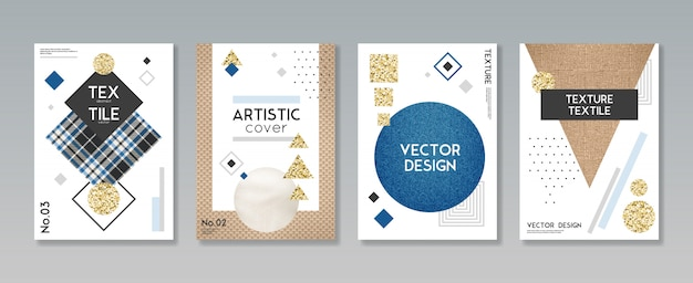 Conjunto de capa de tecido de tecido Vetor grátis