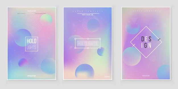 Conjunto de capa holográfica moderna futurista. 90, 80 estilo retro. Vetor Premium
