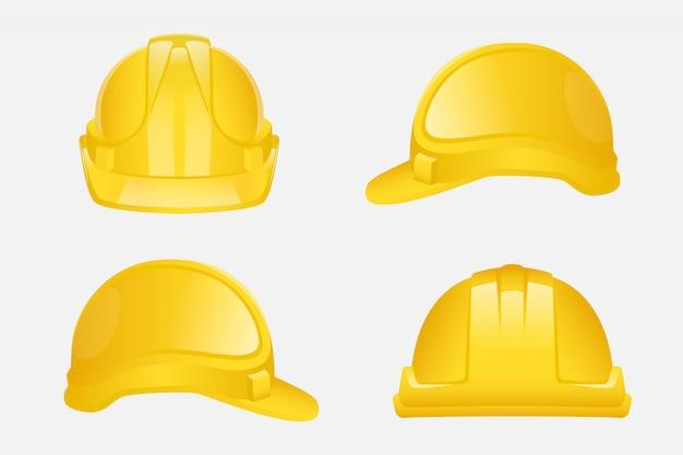 Conjunto de capacete amarelo de construção Vetor Premium