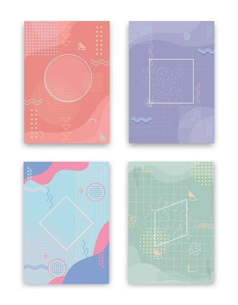 Conjunto de capas ao estilo neo memphis. coleção de capas brilhantes e legais. composições de formas abstratas. vetor. Vetor grátis