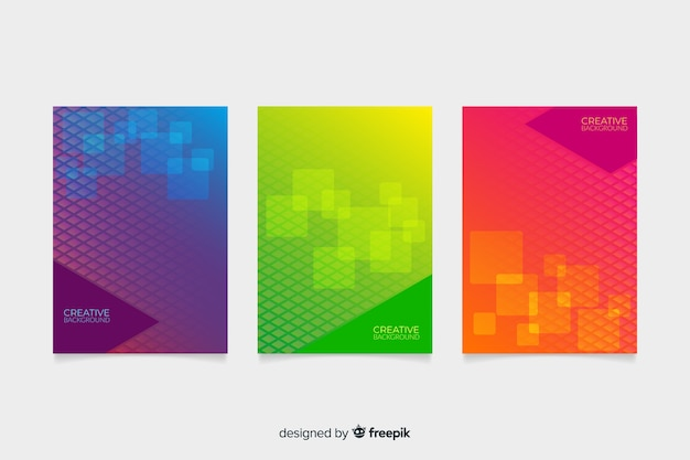 Conjunto de capas de desenho geométrico Vetor grátis