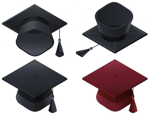 Conjunto de capelo capelo, formatura do ensino médio Vetor Premium