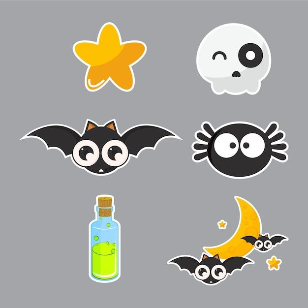 Conjunto de caractere de halloween. Vetor Premium