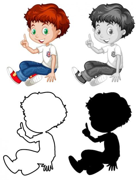 Conjunto de caractere de menino inglês Vetor grátis