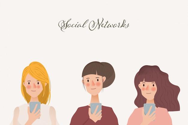 Conjunto de caractere de mulheres usando um telefone celular. tendência de comunicação de rede de mídia social. Vetor Premium