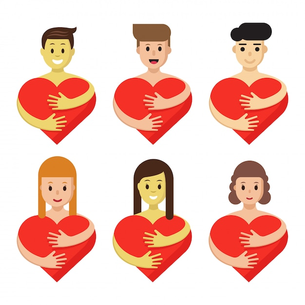 Conjunto de caracteres, abraçando o coração. os povos dos desenhos animados mantêm símbolos vermelhos do amor isolados. Vetor Premium