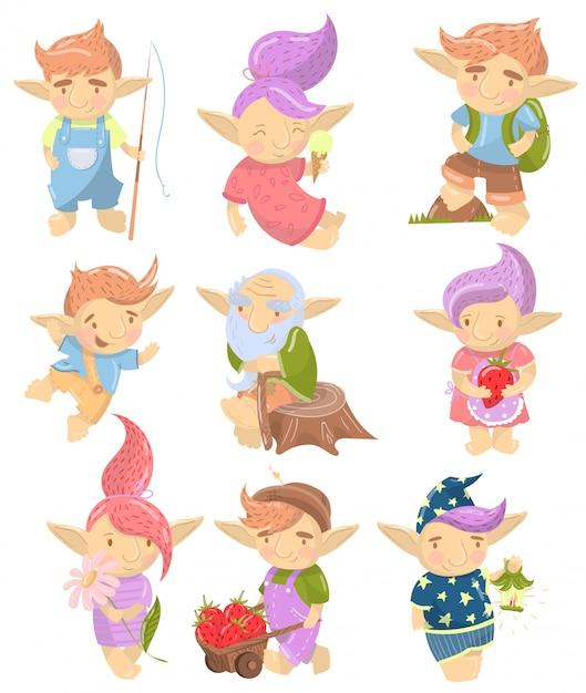 Conjunto de caracteres bonitinho troll, criaturas engraçadas com cabelos coloridos em diferentes situações cartum ilustração Vetor Premium