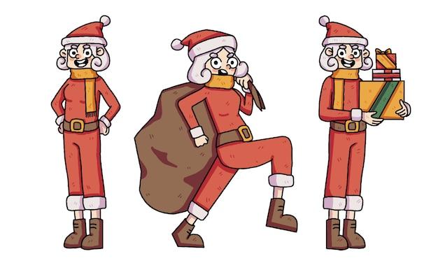 Conjunto de caracteres bonito de santa menina de natal Vetor Premium