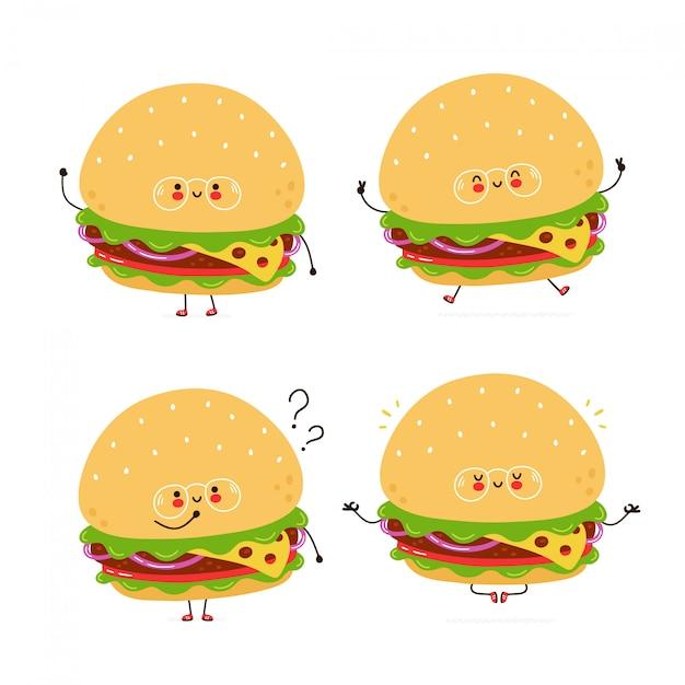 Conjunto de caracteres bonito hambúrguer feliz Vetor Premium