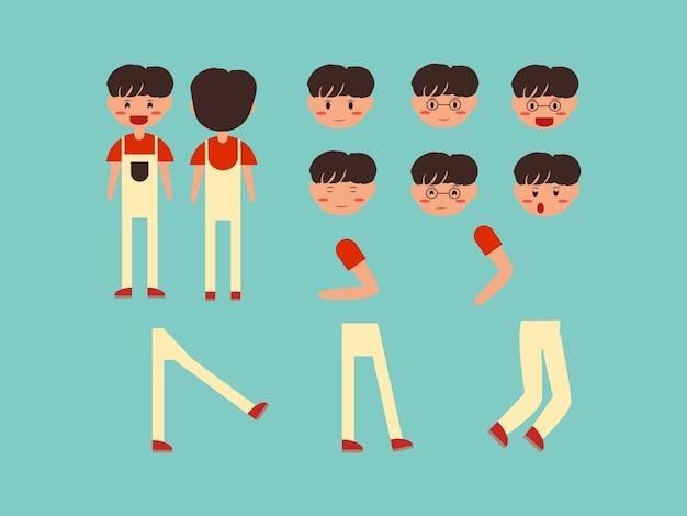 Conjunto de caracteres crianças fofas menino masculino Vetor Premium