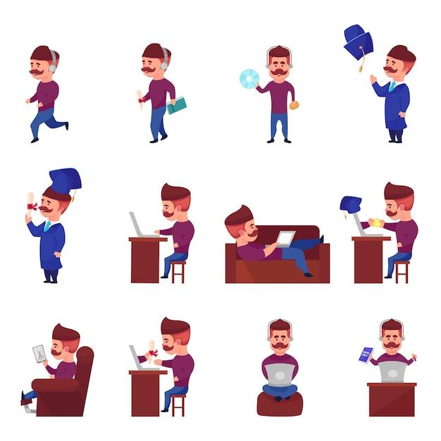 Conjunto de caracteres de aprendizagem online Vetor grátis