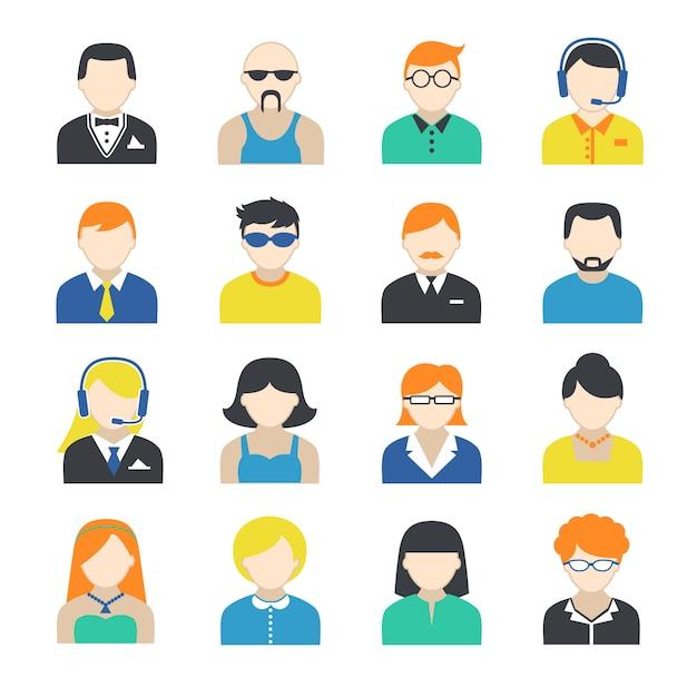 Conjunto de caracteres de avatar Vetor Premium