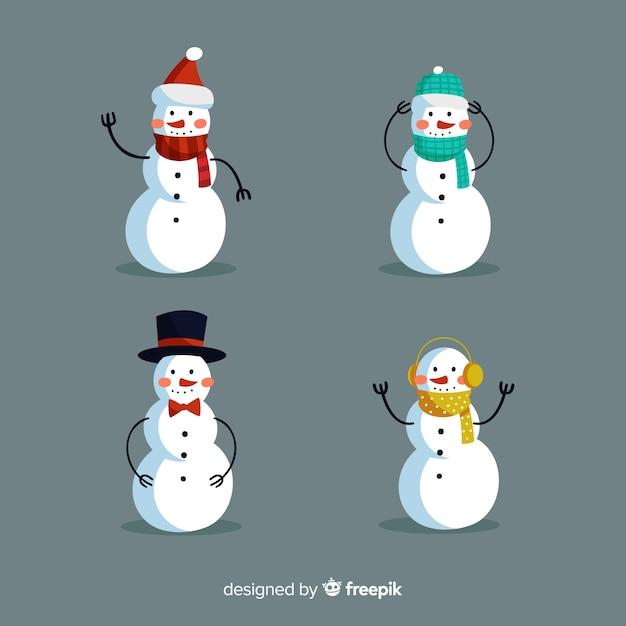 Conjunto de caracteres de boneco de neve Vetor grátis