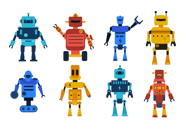 Conjunto de caracteres de brinquedos de robô. coleção de robôs dos desenhos animados, transformador e andróides isolados no fundo branco. tecnologia, o futuro. Vetor Premium