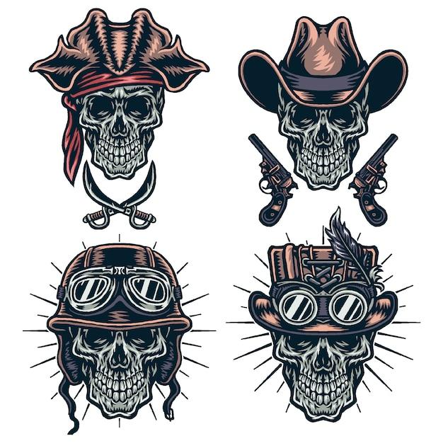 Conjunto de caracteres de caveiras, cowboys, steampunk, capacetes e piratas Vetor Premium