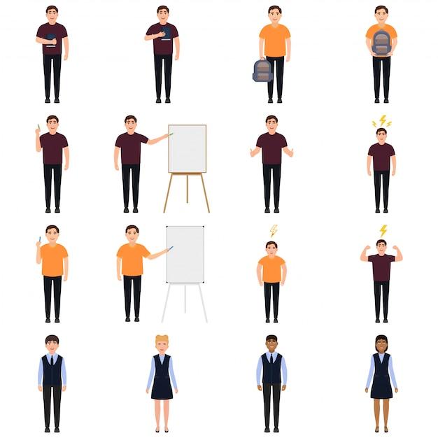 Conjunto de caracteres de crianças em idade escolar e professores no estilo cartoon Vetor Premium