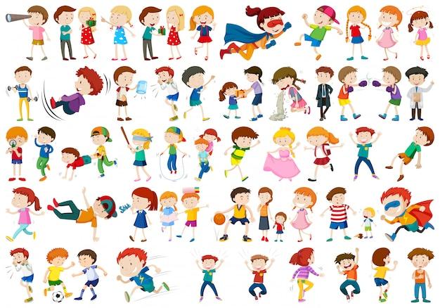 Conjunto de caracteres de crianças Vetor grátis