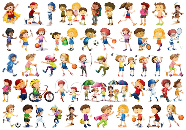 Conjunto de caracteres de crianças Vetor Premium