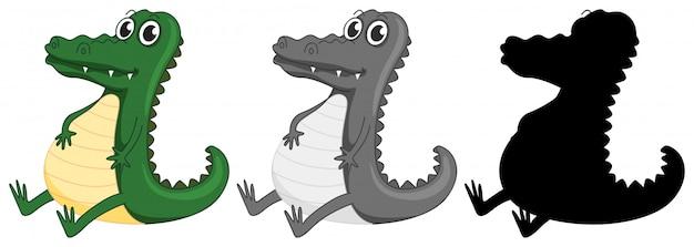 Conjunto de caracteres de crocodilo Vetor grátis