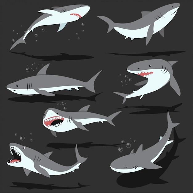 Conjunto de caracteres de desenhos animados de tubarões isolado Vetor Premium