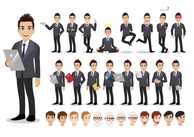 Conjunto de caracteres de desenhos animados do empresário. homem de negócios bonito terno inteligente de estilo de escritório. Vetor Premium