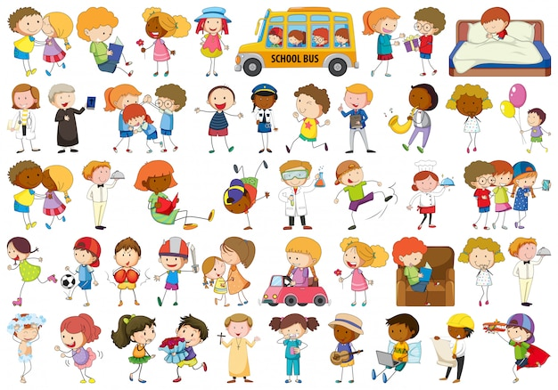 Conjunto de caracteres de doodle Vetor grátis