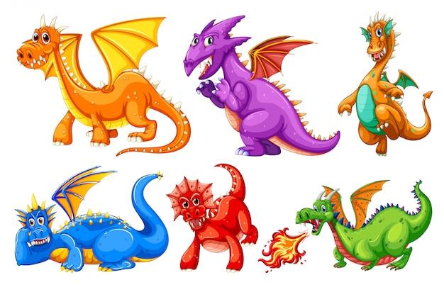 Conjunto de caracteres de dragão Vetor grátis
