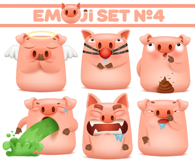 Conjunto de caracteres de emoji bonito dos desenhos animados de porco em várias emoções. ilustração vetorial Vetor Premium