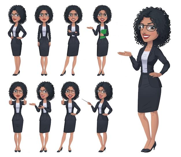Conjunto de caracteres de empresária preto Vetor Premium