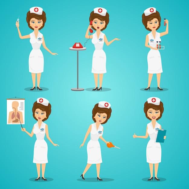 Conjunto de caracteres de enfermeira Vetor grátis