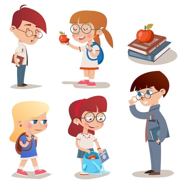 Conjunto de caracteres de estilo vintage vetorial para crianças em idade escolar Vetor grátis