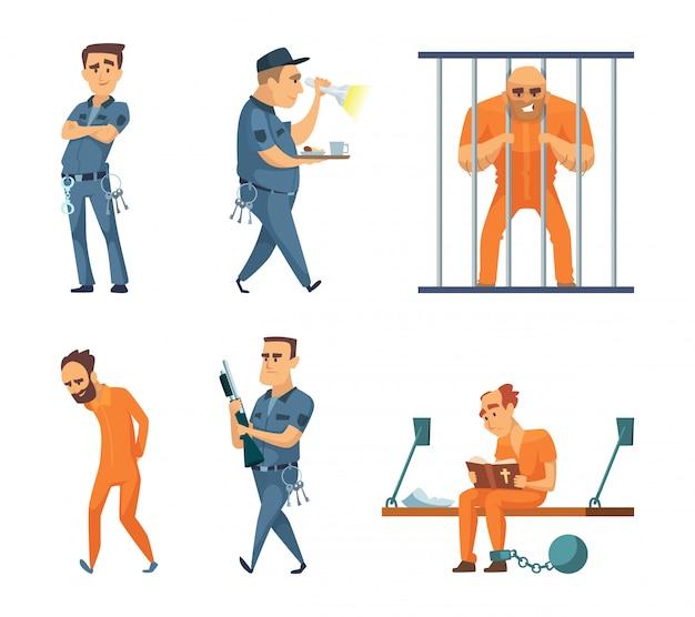 Conjunto de caracteres de guardas e prisioneiros Vetor Premium