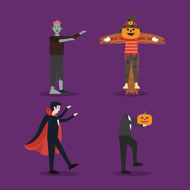 Conjunto de caracteres de halloween de design plano Vetor grátis