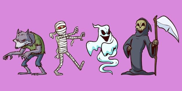 Conjunto de caracteres de halloween Vetor grátis
