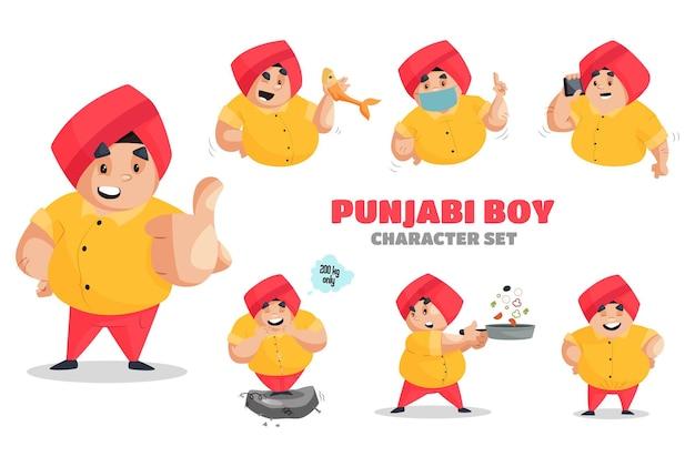 Conjunto de caracteres de ilustração de menino em punjabi Vetor Premium
