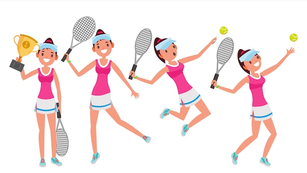 Conjunto de caracteres de jogador de tênis Vetor Premium