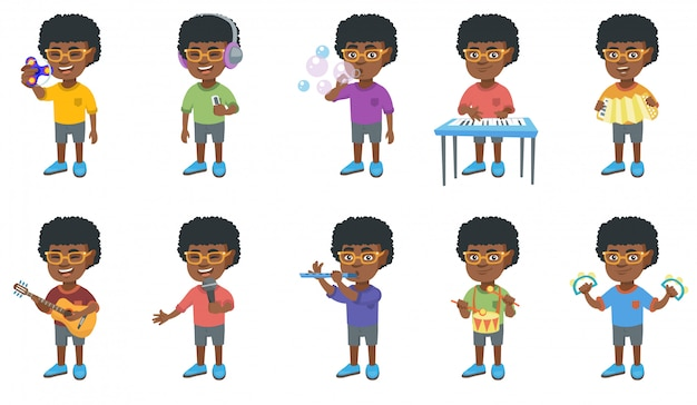 Conjunto de caracteres de menino africano Vetor Premium