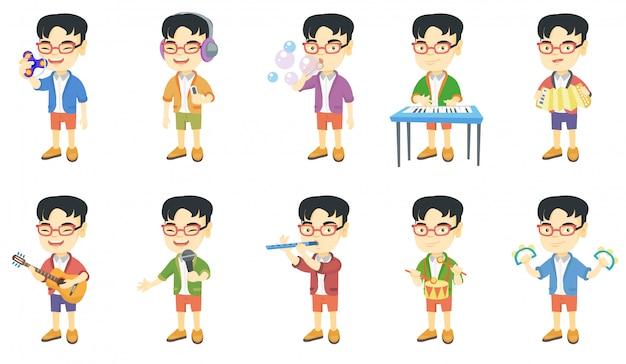 Conjunto de caracteres de menino asiático Vetor Premium