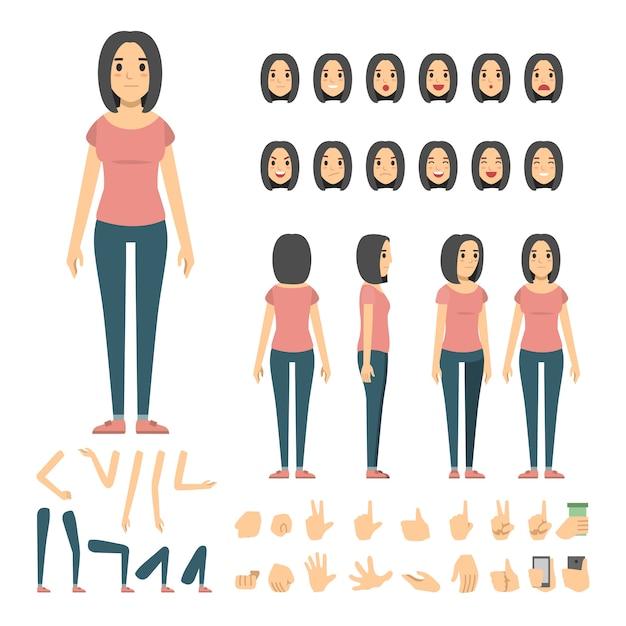 Conjunto de caracteres de mulher casual Vetor Premium