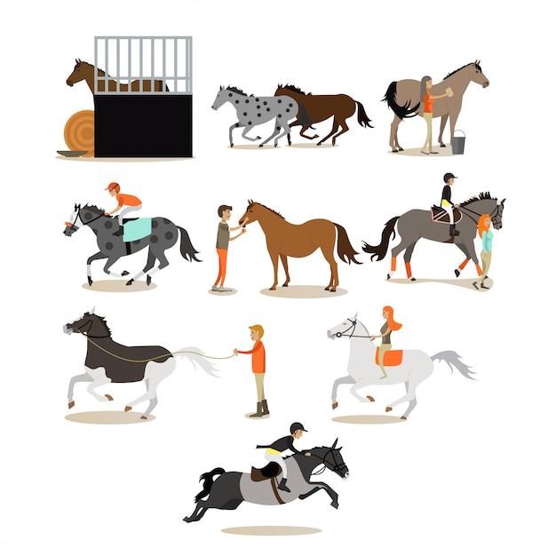 Conjunto de caracteres de pessoas a cavalo em estilo simples Vetor Premium