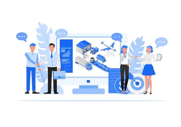 Conjunto de caracteres de pessoas de negócios. conceito de importação e exportação de negócios. Vetor Premium