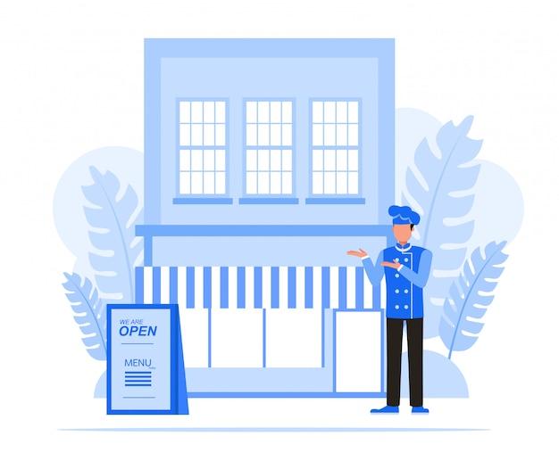 Conjunto de caracteres de pessoas de negócios. conceito de restaurante do empresário. Vetor Premium