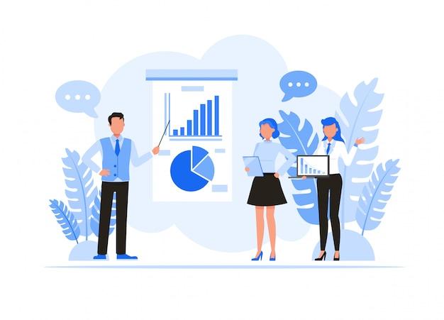 Conjunto de caracteres de pessoas de negócios. pessoas de negócios, conhecer e compartilhar o conceito de idéia. Vetor Premium