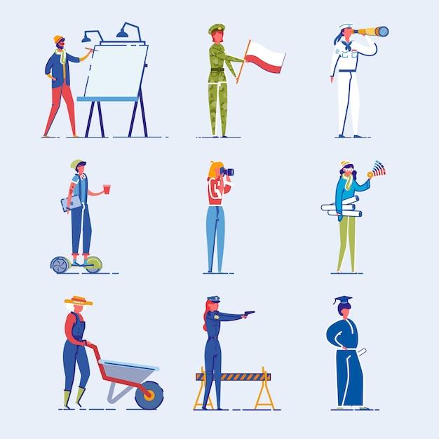 Conjunto de caracteres de pessoas diversas ocupação e idade. Vetor Premium