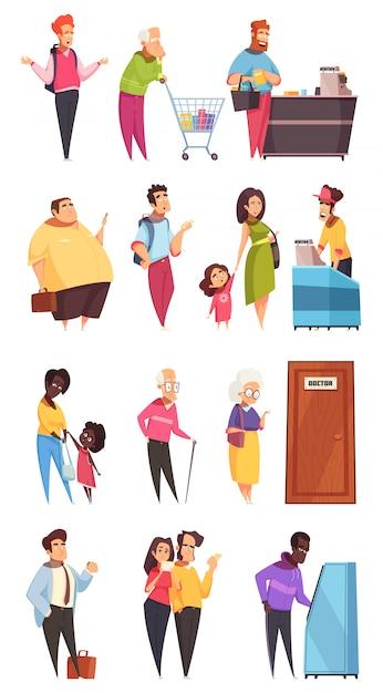 Conjunto de caracteres de pessoas na fila Vetor grátis