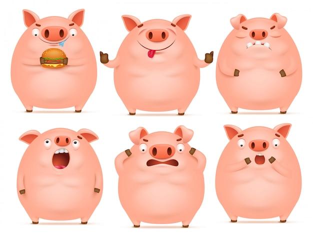 Conjunto de caracteres de porco-de-rosa emocional bonito dos desenhos animados. Vetor Premium