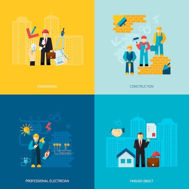 Conjunto de caracteres de profissões de construção Vetor grátis